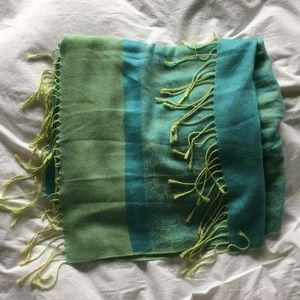 Accessories - Light blue & lime Pashmina